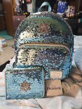Loungefly Disney Frozen Elsa Reversible Sequin Mini Backpack & Wallet NWT