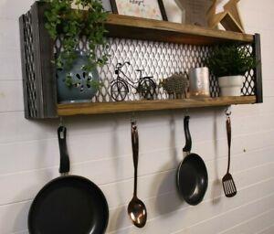 Industrial Style Wall Shelves Monnted Storage Display Utensil Rack