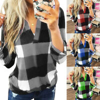 Plus Size Women Ladies V-Neck Plaid Blouse Casual Loose Long Sleeve T Shirt Tops