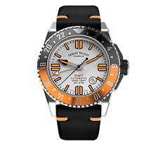 More details for armand nicolet jss men's automatic watch gmt silver leather
