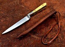 PA3410BO Couteau Médiéval Lame Acier Inox Manche Os Etui Cuir