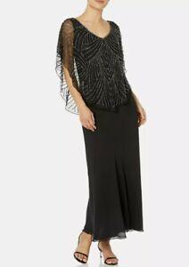 J Kara Women's Petite Pop Over Long Beaded Dress Black / Mercury 14 P