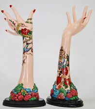 "Set Of 2 Katherine's Collection Rockabilly Tattoo Art 14"" Mannequin Hands"