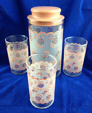 Vintage glass decanter with lid and 3 glass juice decanter set pink peach color