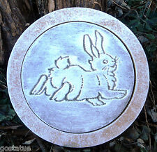 """bunny rabbit stepping stone plastic mold plaster concrete mould 10"""""""