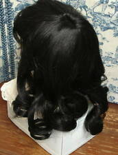 "Human Hair Doll Wig, Long fine, HELEN 15-16""  Black GLOBAL, clearance priced!"