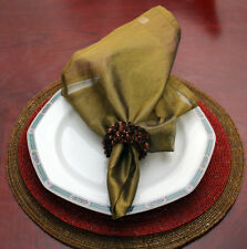 ANTIQUE GOLD SHEER ORGANZA DINNER NAPKINS, SET OF 6