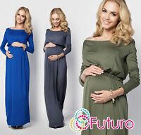Ladies Maternity Evening Maxi Dress Long Sleeve Boat Neck Plus Sizes 8-18 FM08