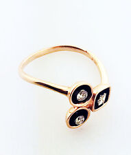 14K Rose Gold Diamond Ring With Black Rhodium Stylish Design