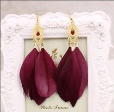 Handmade Yellow Gold Plated Rhinestone Fashion Earrings