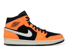 b86fd7938b2a8 SALE AIR JORDAN 1 MID RETRO BLACK CONE ORANGE LIGHT BONE 554724 062 SIZE  11.5-