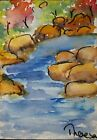 Original ACEO or ATC watercolor miniature painting - Creek