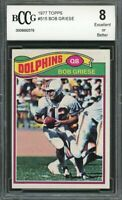 1977 topps #515 BOB GRIESE miami dolphins BGS BCCG 8