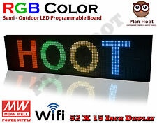 "LED SIGN 52""X15"" RGB 7 COLOUR SEMI-OUTDOOR PROGRAMMABLE SCROLLING USB WIFI APP"