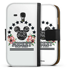 Samsung Galaxy S3 mini Tasche Hülle Flip Case - Mickey Mouse - College Flowers