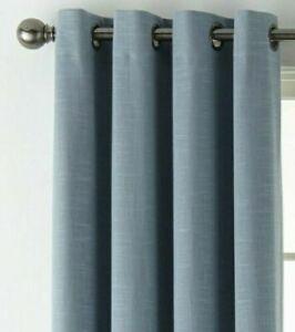 (1) JC PENNEY JCP HOME Holland Linen BLUE 100% BLACKOUT Grommet 50 x 84 Curtain