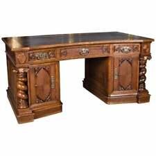 Neo Rokokko Desk Um 1860 Bright Oak With Advance Columns