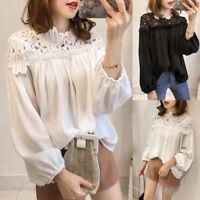 Women Lantern Sleeve Hollow Out Crochet Shirt Tops Patchwork Loose Blouse Plus