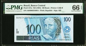 Brazil 100 Reais ND (1994) Pick-247a GEM UNC 66 EPQ