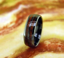 Black Ceramic Ring with Koa Wood Inlay 8MM,Wedding,Promise,Wood,Comfort Fit,Dome