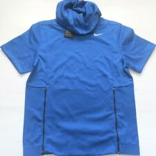 Nike Men Therma Fit Short Sleeve Shirt Hoodie - 908349 - Blue 493 - Size L - NWT