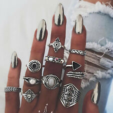 UK BOHO 10PC CRYSTAL RING SET Midi Finger Gypsy Ethnic Tribal Jewellery Gift