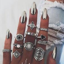 UK BOHO 10PC CRYSTAL RING SET Midi Finger Gypsy Ethnic Tribal Jewellery Gift