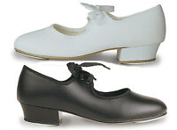 LOW HEEL TAP SHOES, Child & Adult Unisex, All sizes Black or White. New & Boxed