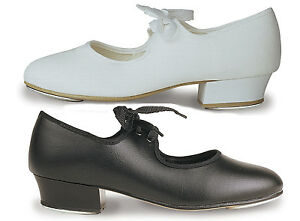 TAP SHOES, LOW HEEL, Fitted Taps. Roch Valley or Tappers in Black or White PU