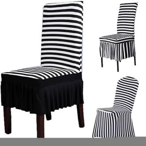 Stripe Stretch Dining Chair Cover Slipcover Wedding Banquet Seat Cover Removable