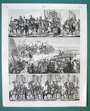 ARMY Medieval German Roman Banner Bearers -1844 Antique Print Engraving