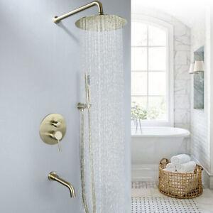 """Brushed Gold Bathroom Shower Set 8"""" Rainfall Shower Head Bath Shower Mixer Brass"""