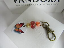 CHARM BRACELET CLASP OPENER / NAIL SAVER ORANGE BUTTERFLY