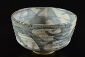 #9155:Japanese Old Kiyomizu-ware glay glaze TEA BOWL Green tea tool Tea Ceremony