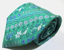 Hermes Paris 7640 TA Striped Animal Green Silk Necktie Tie Made In France