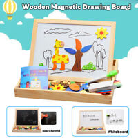 Wooden Magnetic Drawing Board Kids Early Educational Jigsaw Puzzle Learning M