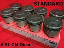 6.5 6.5L Diesel Pistons STANDARD 1992-02 MAHLE Coated set of 8 GM Chevy w/ Rings