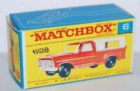 Matchbox Lesney No 6  Ford Pick-Up Empty repro Box style F