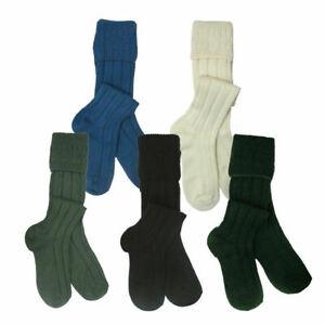 Scottish Wool Blend Kilt Socks For Men's White,Cream,Black,Grey,Green,Red, Color