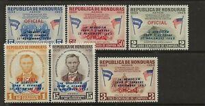HONDURAS Sc C325-30 NH issue of 1964 - OVERPRINT FOR JFK