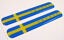 """Sweden Swedish Flag Domed Decal Emblem Resin car stickers 5""""x 0.82"""" 2pc."""