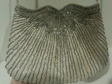 Vintage Silver Beautiful Unique Beaded Clutch Bag Purse Wedding