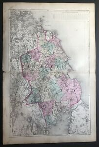 1871 Color Map, Plymouth County Massachusetts inc. Routes, Railroad Lines 26x17