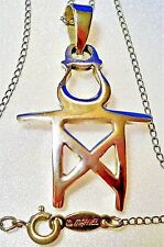 "1988 ""HERCULES STERLING"" 1.5 x 1"" Tianra Misu Pendant on ""MARVEL STERLING"" Chain"