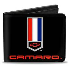 Men Wallet Bifold Black Chevrolet Z28 RS SS Camaro Badge Logo Genuine