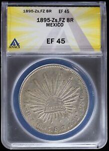 1895 Zs FZ Mexico Silver 8 Reales ANACS EF45 XF Cap & Rays Zacatecas 8R