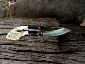 Lek Bovi Custom Folding Knife ATS4034 steel Antler Ebony black wood rare TH04