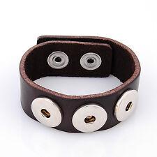 Leder ARMBAND für Chunks Chunk Click Button Druckknopf (18-22 cm) Braun #4103