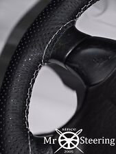 FOR PORSCHE 944 PERFORATED LEATHER STEERING WHEEL COVER 82-91 WHITE DOUBLE STCH