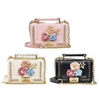 Women Mini Shoulder Bag Floral Leather Handbag Chain Messenger Crossbody Satchel